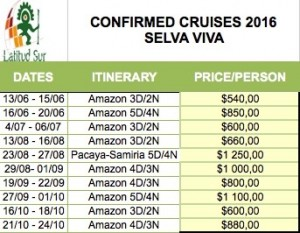 Confirmed cruises