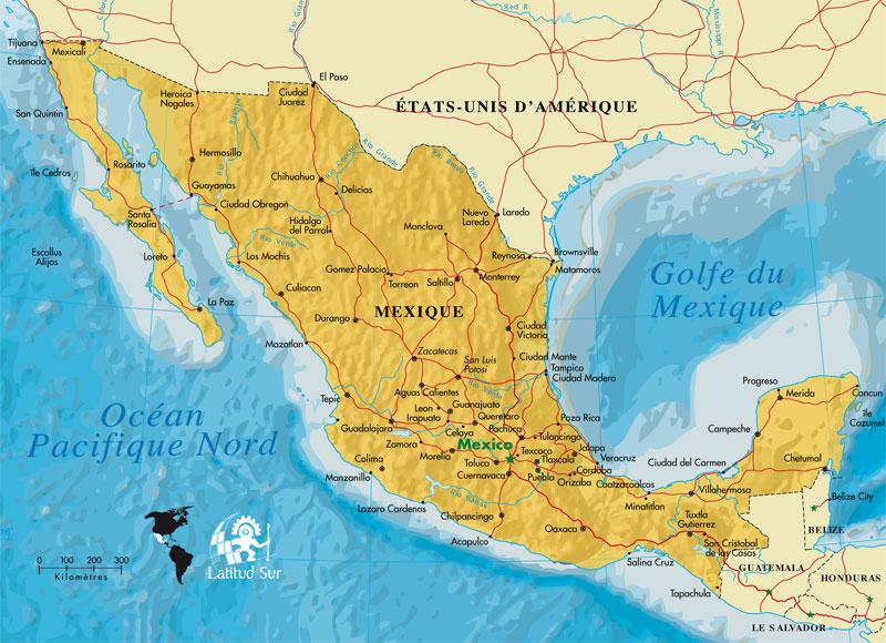 Villes Mexique Carte